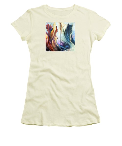 01321 Fire And Waves Women's T-Shirt (Junior Cut) by AnneKarin Glass