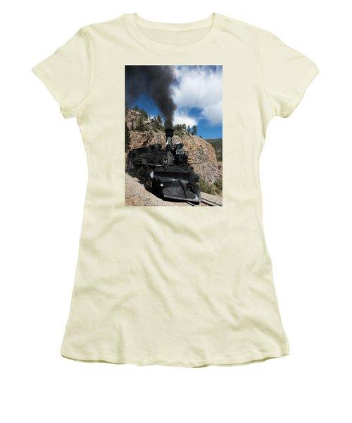 A Durango And Silverton Narrow Gauge Scenic Railroad Train Chugs Through The San Juan Mountains Women's T-Shirt (Junior Cut) by Carol M Highsmith