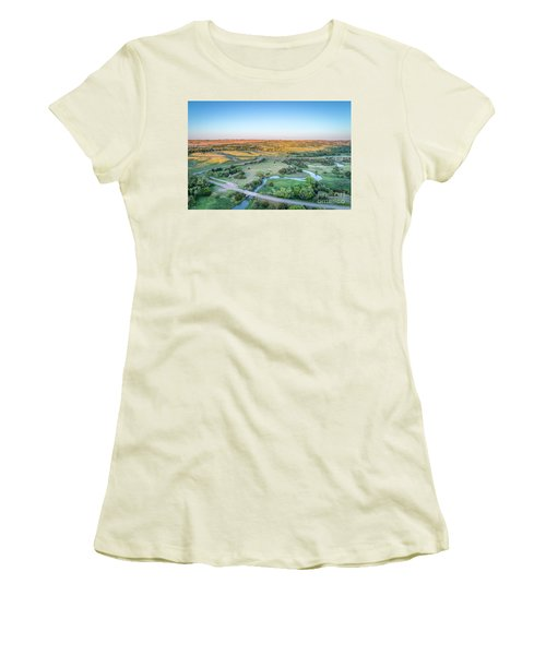 aerial view of Dismal River in Nebraska Women's T-Shirt (Athletic Fit)