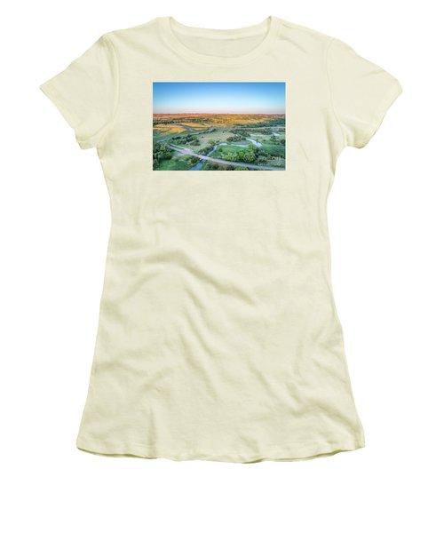 aerial view of Dismal River in Nebraska Women's T-Shirt (Athletic Fit)