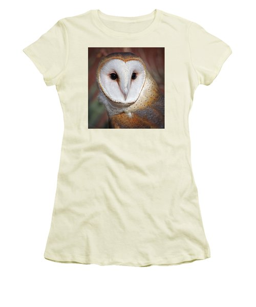 Barn Owl Women's T-Shirt (Junior Cut) by Elaine Malott