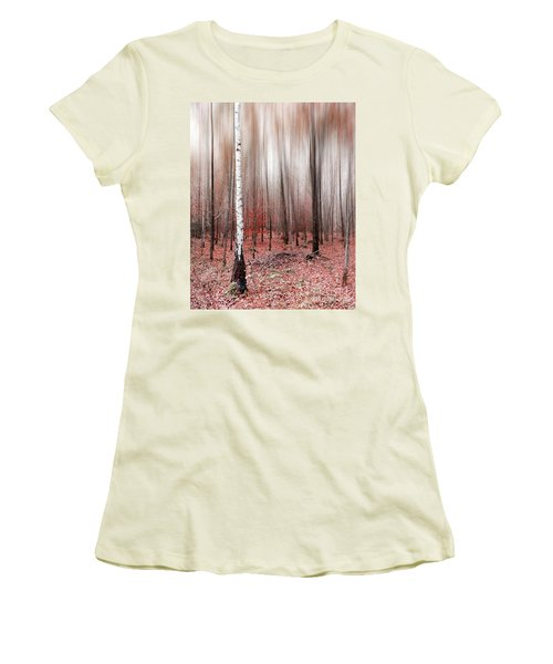 Women's T-Shirt (Junior Cut) featuring the photograph Birchforest In Fall by Hannes Cmarits