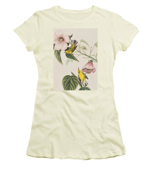 Blue-winged Yellow Warbler  Women's T-Shirt (Athletic Fit)