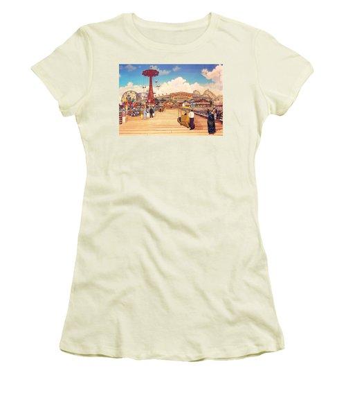 Coney Island Boardwalk Women's T-Shirt (Athletic Fit)