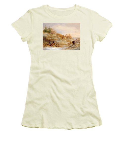 Fox And Pheasants In Winter Women's T-Shirt (Junior Cut) by Anonymous