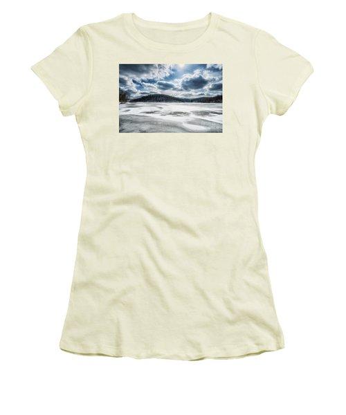 Frozen Lake Women's T-Shirt (Junior Cut) by Thomas R Fletcher