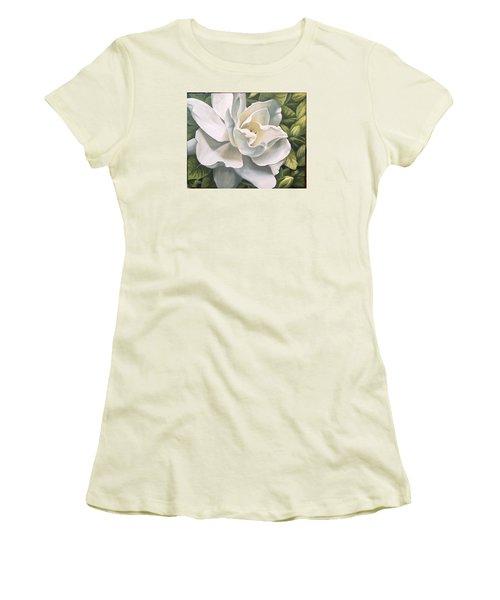 Women's T-Shirt (Junior Cut) featuring the painting Gardenia by Natalia Tejera