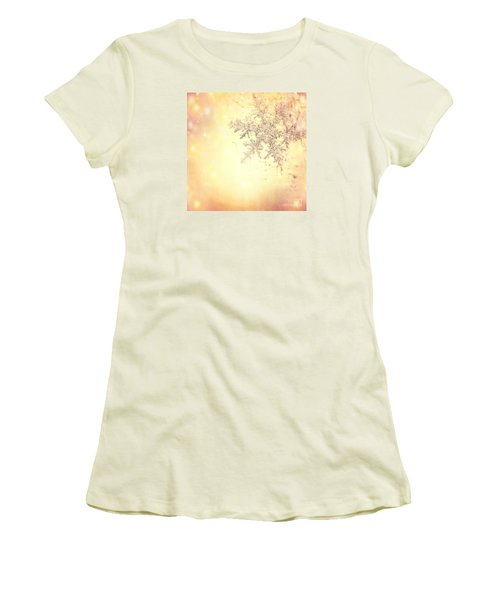 Golden Christmas Background Women's T-Shirt (Athletic Fit)