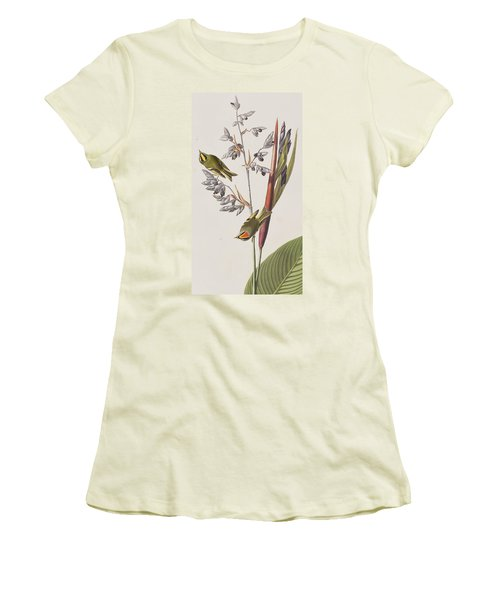 Golden-crested Wren Women's T-Shirt (Junior Cut) by John James Audubon