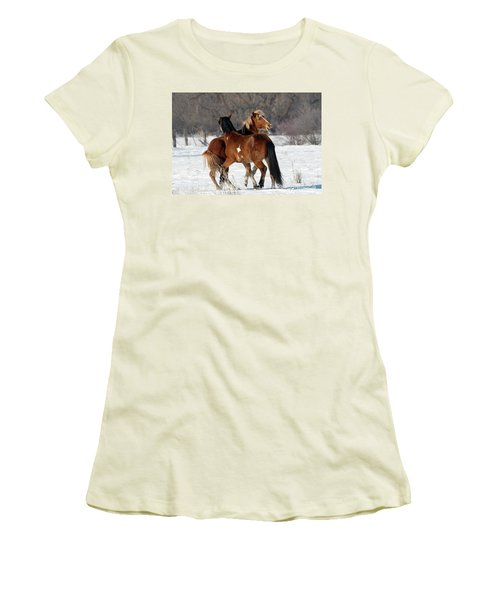 Women's T-Shirt (Junior Cut) featuring the photograph Horseplay by Mike Dawson
