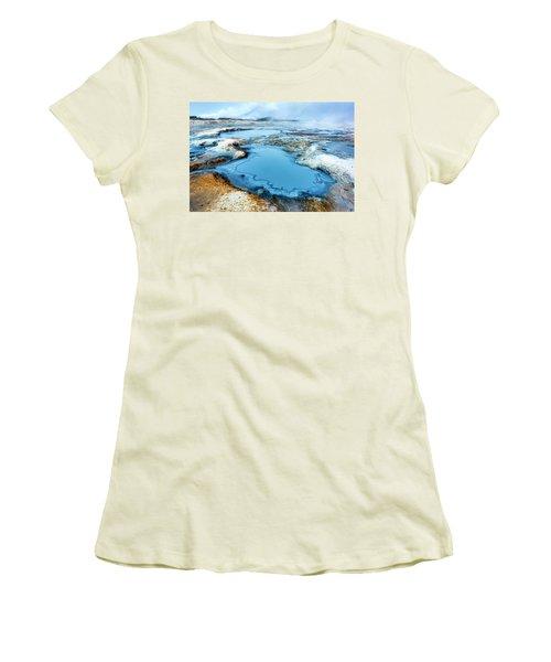 Hverir Steam Vents In Iceland Women's T-Shirt (Junior Cut) by Joe Belanger