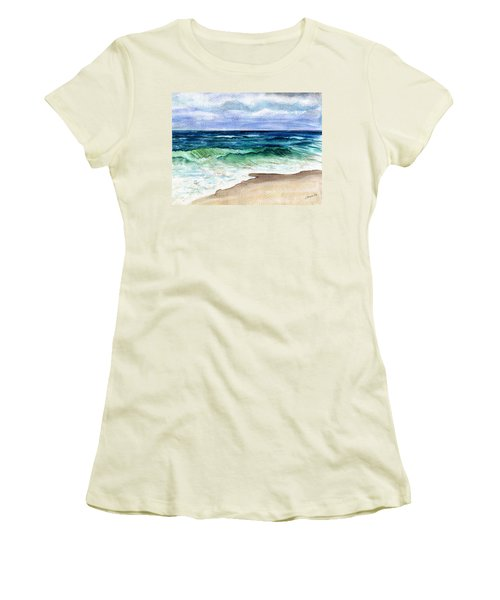 Women's T-Shirt (Junior Cut) featuring the painting Jersey Shore by Clara Sue Beym
