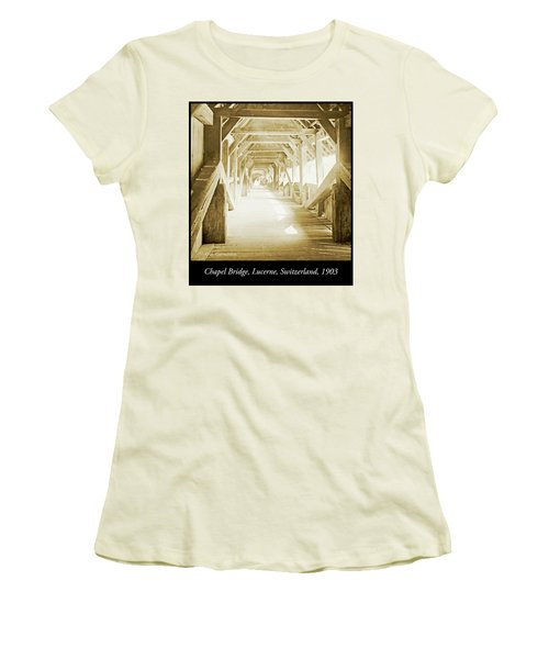 Kapell Bridge, Lucerne, Switzerland, 1903, Vintage, Photograph Women's T-Shirt (Athletic Fit)