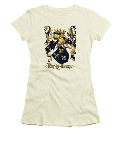 King Of France Coat Of Arms - Livro Do Armeiro-mor  Women's T-Shirt (Junior Cut) by Serge Averbukh