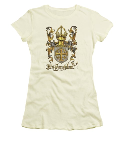 Kingdom Of Jerusalem Coat Of Arms - Livro Do Armeiro-mor Women's T-Shirt (Junior Cut) by Serge Averbukh