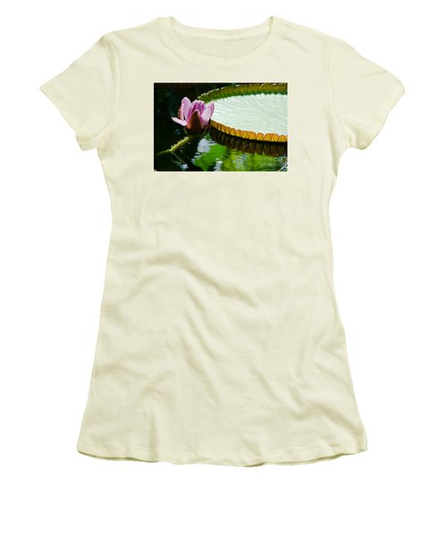 Women's T-Shirt (Junior Cut) featuring the painting Lotus Flower by Yurix Sardinelly
