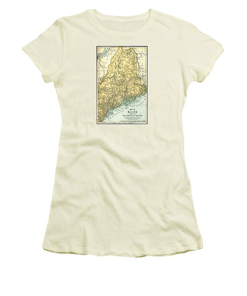 Maine Antique Map 1891 Women's T-Shirt (Junior Cut) by Phil Cardamone