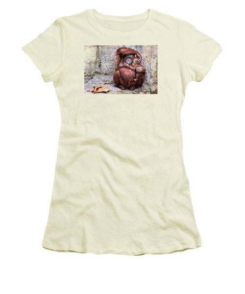 Mom And Baby Orangutan Women's T-Shirt (Junior Cut) by Stephanie Hayes