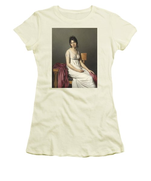 Portrait Of A Young Woman In White Women's T-Shirt (Athletic Fit)