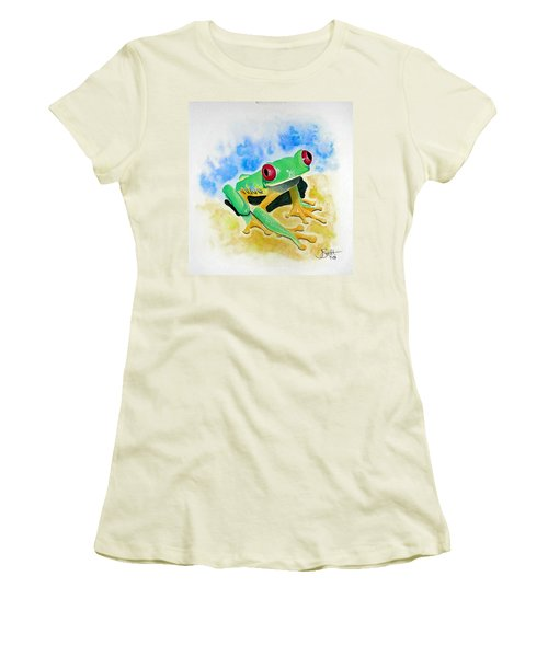 Red Eyed Tree Frog Women's T-Shirt (Junior Cut) by Jimmy Smith