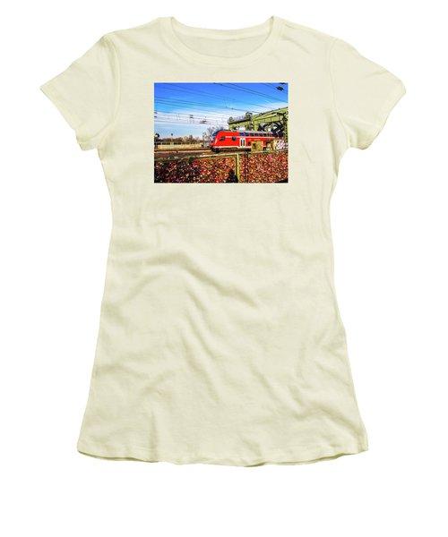 Red Train Women's T-Shirt (Junior Cut) by Cesar Vieira