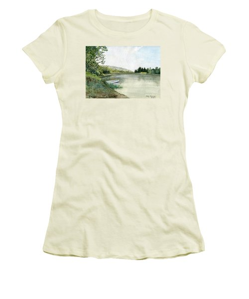 Women's T-Shirt (Junior Cut) featuring the painting River Light by Melly Terpening