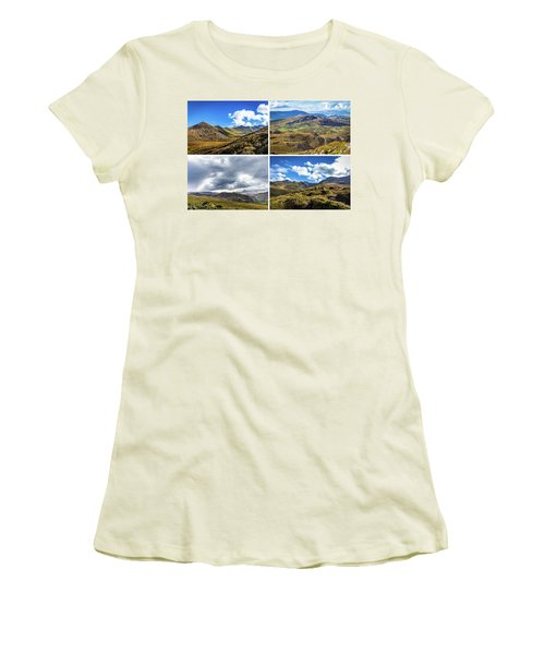 Postcard Of Rock Formation Landscape With Clouds And Sun Rays In Ireland Women's T-Shirt (Junior Cut) by Semmick Photo