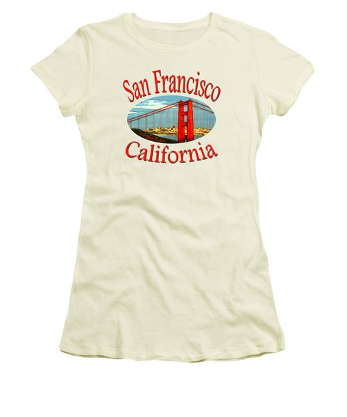San Francisco California - Tshirt Design Women's T-Shirt (Junior Cut) by Art America Gallery Peter Potter