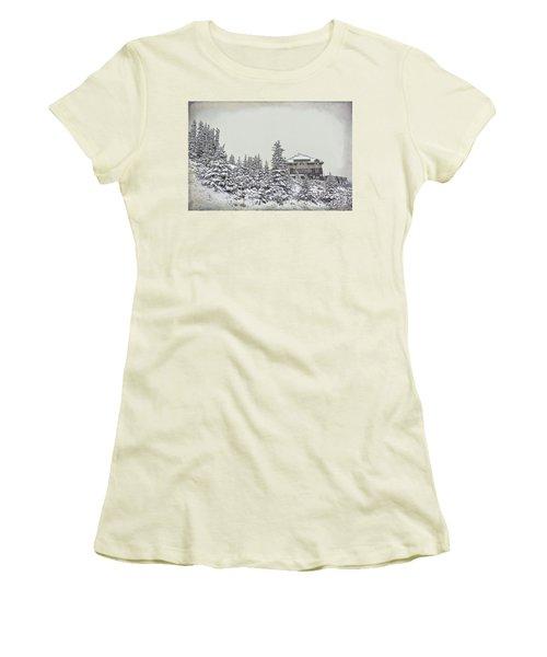 Women's T-Shirt (Junior Cut) featuring the photograph Snow In July by Teresa Zieba