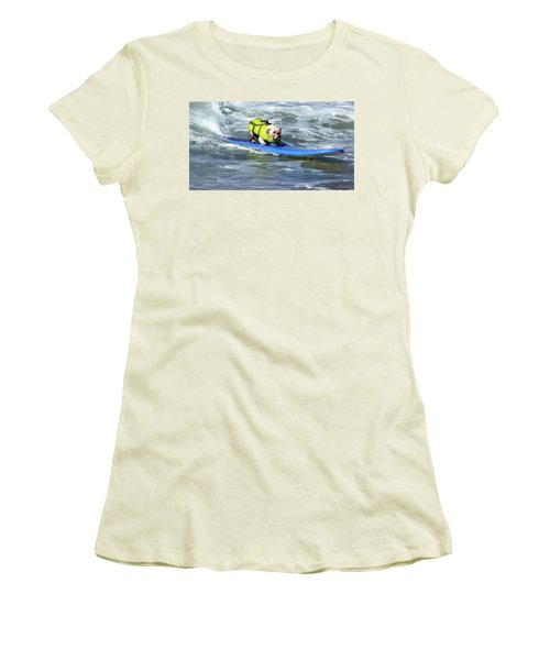 Women's T-Shirt (Junior Cut) featuring the photograph Surfing Dog by Thanh Thuy Nguyen