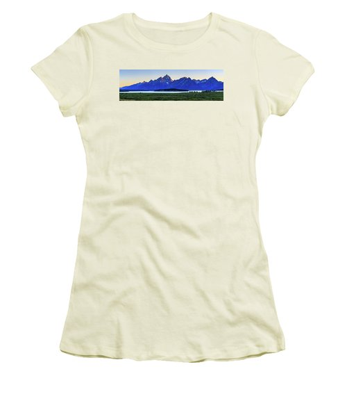 Women's T-Shirt (Athletic Fit) featuring the photograph Teton Sunset by David Chandler