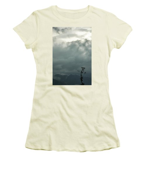 Tree And Mountain  Women's T-Shirt (Athletic Fit)