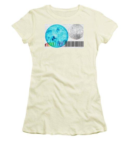 Urban Graffiti - Binary Evolution Women's T-Shirt (Junior Cut) by Serge Averbukh