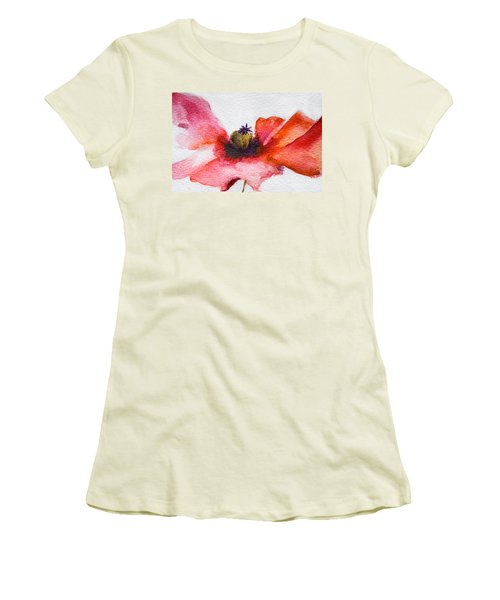 Watercolor Poppy Flower Women's T-Shirt (Athletic Fit)