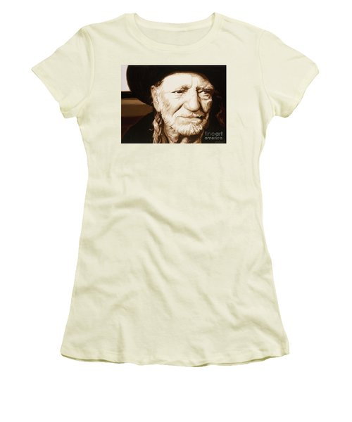 Women's T-Shirt (Junior Cut) featuring the painting Willie Nelson by Ashley Price
