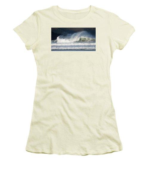 Women's T-Shirt (Junior Cut) featuring the photograph Windy Seas In Cornwall by Nicholas Burningham