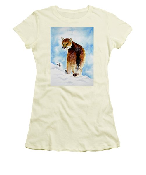 Winter Cougar Women's T-Shirt (Junior Cut) by Jimmy Smith