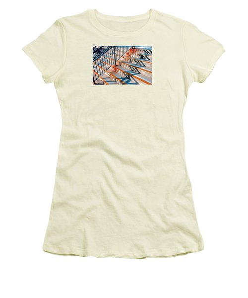 Women's T-Shirt (Junior Cut) featuring the photograph Zig Zag Shadows On Train Station Steps by Gary Slawsky