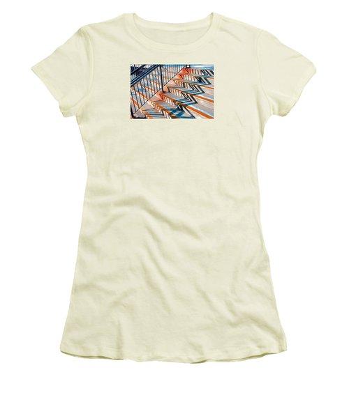 Zig Zag Shadows On Train Station Steps Women's T-Shirt (Junior Cut) by Gary Slawsky