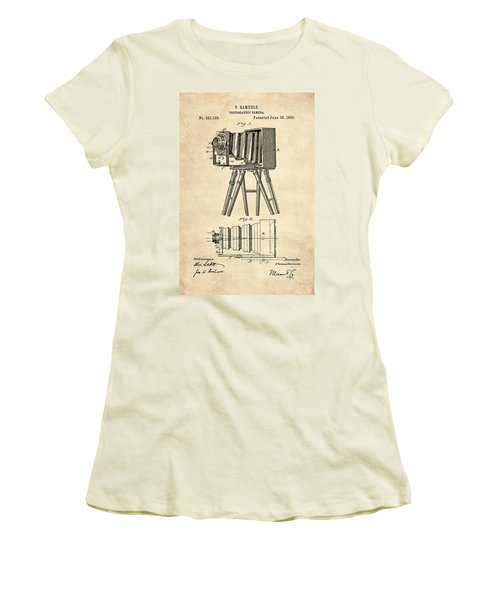 1885 Camera Us Patent Invention Drawing - Vintage Tan Women's T-Shirt (Athletic Fit)