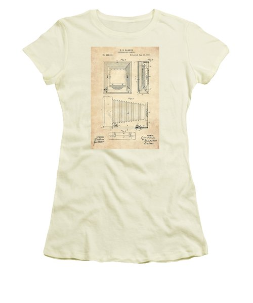1891 Camera Us Patent Invention Drawing - Vintage Tan Women's T-Shirt (Athletic Fit)