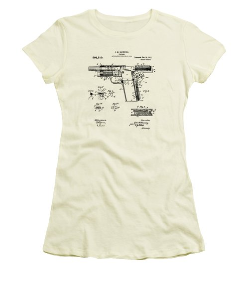 Women's T-Shirt (Junior Cut) featuring the drawing 1911 Colt 45 Browning Firearm Patent 2 Artwork Vintage by Nikki Marie Smith