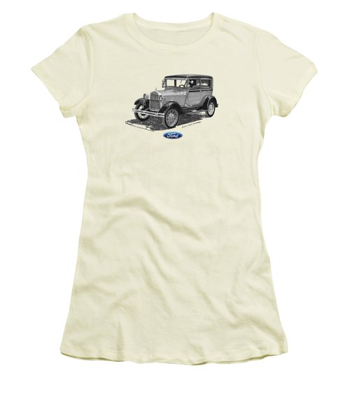 Model A Ford 2 Door Sedan Women's T-Shirt (Athletic Fit)