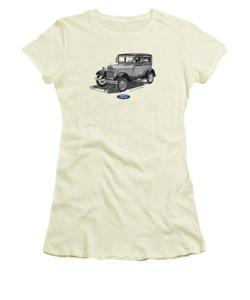 Model A Ford 2 Door Sedan Women's T-Shirt (Junior Cut) by Jack Pumphrey