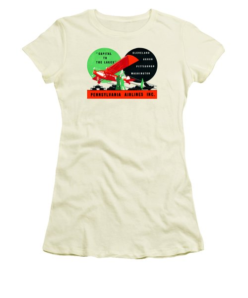 1930 Penn Airlines Poster Women's T-Shirt (Junior Cut) by Historic Image