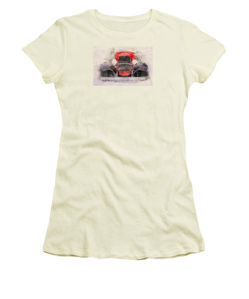 1932 Ford Roadster Red And Black Women's T-Shirt (Athletic Fit)