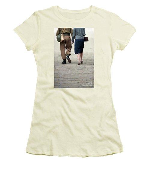 1940s Couple Soldier And Civilian Holding Hands Women's T-Shirt (Junior Cut) by Lee Avison