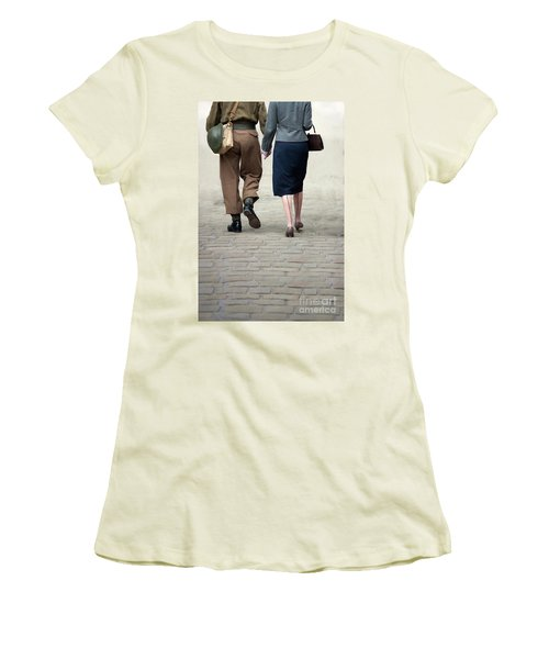 1940s Couple Soldier And Civilian Holding Hands Women's T-Shirt (Athletic Fit)