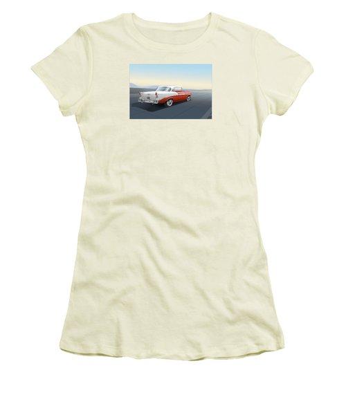 1956 Chevrolet Bel Air Women's T-Shirt (Junior Cut) by Marty Garland