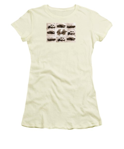 1965 Ford Mustang Collage I Women's T-Shirt (Junior Cut)